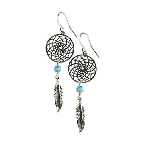 Dream Catcher Turquoise Earrings Shamanic jewelry