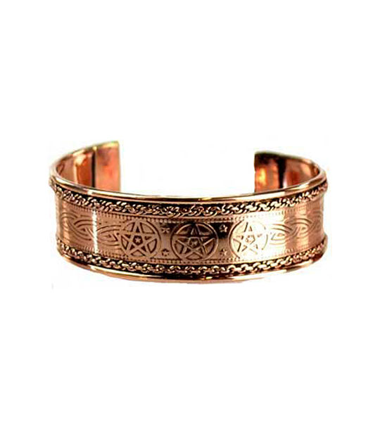 Pentacle Engraved Copper Bracelet Wiccan Jewelry