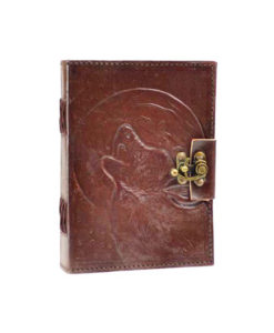 Wolf Howling at the Moon Leather Journal