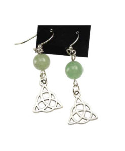 green aventurine triquetra charmed earrings