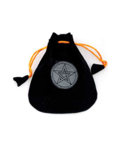 pentacle velveteen drawstring bag orange black