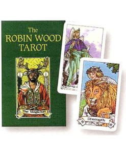 A green tarot deck with the magician, emperor, and lovers cards next to it