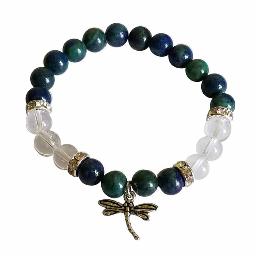 Chrysolcolla And Clear Quartz Dragonfly Bracelet