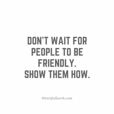 Don't wait for people to be friendly. Show them how. Quote